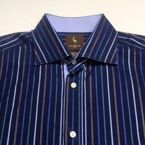 TAILORBYRD Mens Large Blue Striped Dress Shirt